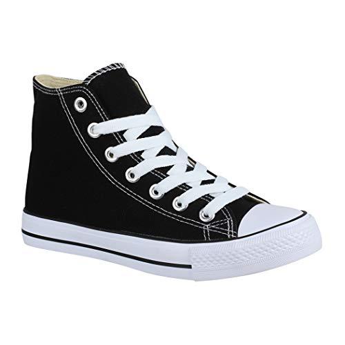 Elara Unisex Sneaker Bequeme Sportschuhe für Damen und Herren Low top Turnschuh Textil Schuhe Black-42