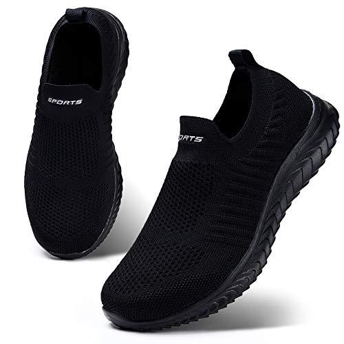 HKR Damen Slip On Sneakers Walkingschuhe Leichte Atmungsaktiv Freizeitschuhe Outdoor Gym Bequem Turnschuhe Schwarz 39 EU