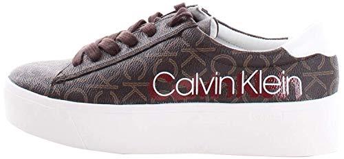 Calvin Klein Sneaker Casual Frauen Modell Janika B4E6289 Leder. Mit Nähten auch auf Ton und Schnürsenkel. Herbst-Winter 2019-2020. EU 40