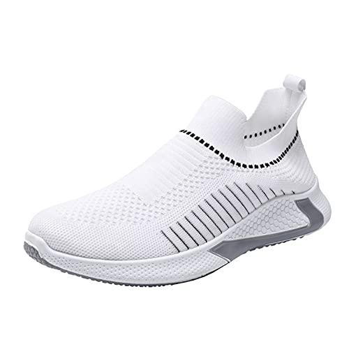 YOUQQI Herren Sneaker Fliegende Hallen Fitnessschuhe Gewebte Atmungsaktive Outdoor Mesh Schuhe Casual Lace Up Bequeme Sohlen Laufsportschuhe