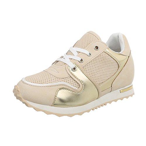 Ital Design Sneakers Low Damen-Schuhe Keilabsatz/Wedge Schnürsenkel Freizeitschuhe Beige Gold, Gr 40, Bk-2-1-
