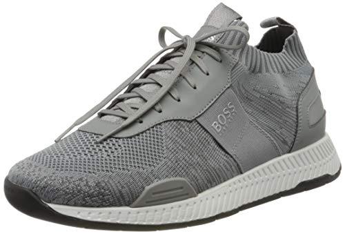 BOSS Herren Titanium Runn Sneakers aus Material-Mix mit Stricksocke Größe 45