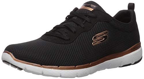 Skechers Women's Flex Appeal 3.0-first Insight Trainers, Black (Black Mesh/Rose Gold Trim Bkrg), 6 UK (39 EU)