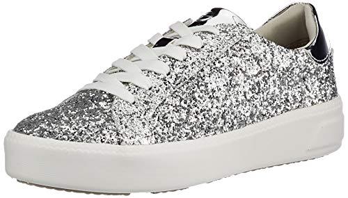 Tamaris Damen 1-1-23750-26 Sneaker, Sneaker, silver glam, 38 EU