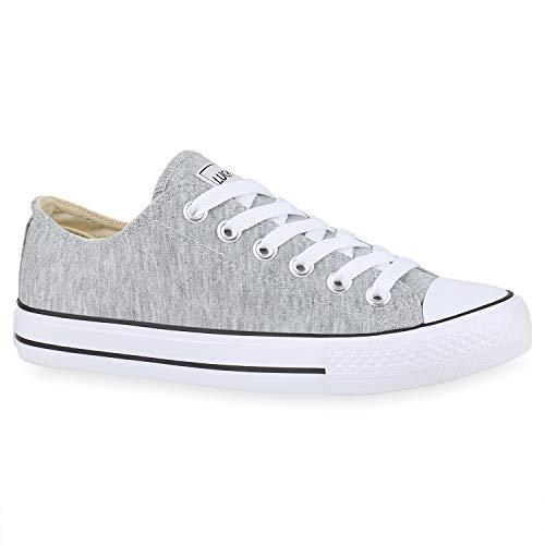 stiefelparadies Damen Sneakers Sportschuhe Schnürer Schuhe 172626 Hellgrau Ambler 36 Flandell