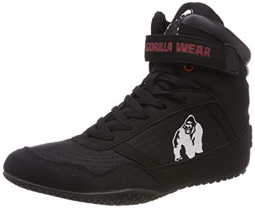 Gorilla Wear High Tops Red rot - schwarzes Logo - Bodybuilding und Fitness Schuhe für Damen und Herren, Schwarz, 46 EU