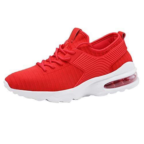 Anglewolf Herren Laufschuhe Weiche Turnschuhe Atmungsaktiv Sportschuhe Laufschuhe Outdoor Schuhe Sneaker Sommer Flache Schuhe Sneakers Leichte Schuhe(rot 1,41 EU)