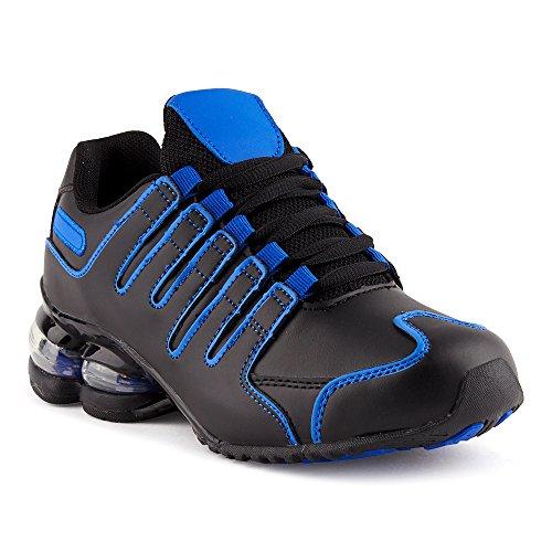 Fusskleidung Herren Damen Sportschuhe Dämpfung Neon Laufschuhe Gym Sneaker Unisex Schwarz Blau EU 38