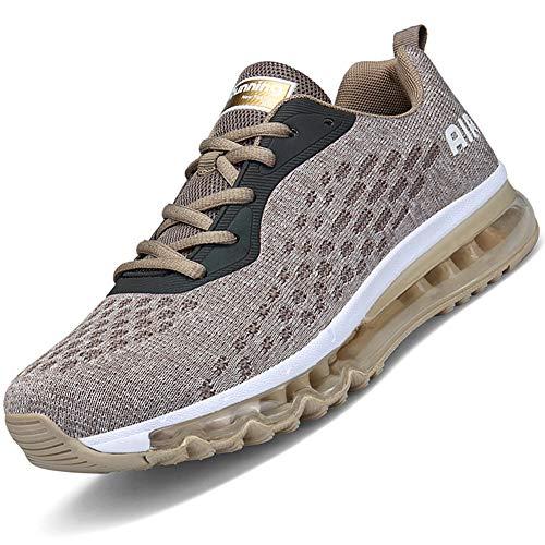 Mabove Laufschuhe Herren Damen Turnschuhe Sportschuhe Straßenlaufschuhe Sneaker Atmungsaktiv Trainer für Running Fitness Gym Outdoor(Gold/HK78,44 EU)