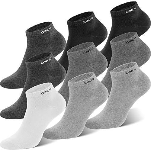 QINCAO Sneaker Socken Herren Damen 9 paar Sportsocken Baumwolle Kurze Halbsocken Unisex Socken(Schwarz x2/ Grau x2/ Grau x2/ Grau x2/ Weiß x1, 39-42)