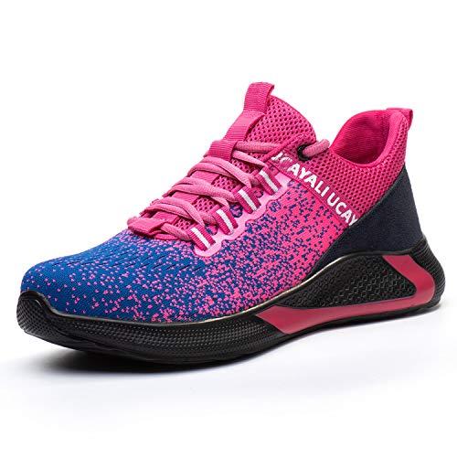 UCAYALI Herren Sicherheitsschuhe Leicht Arbeitsschuhe Stahlkappe Schuhe Atmungsaktiv Turnschuhe Damen Mesh Sportlich Sneaker Rosa 37