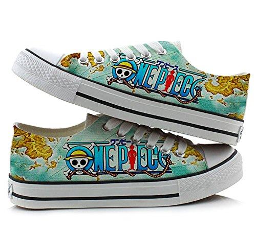 One Piece Anime Cosplay Schuhe Leinwand Schuhe Sneakers Bunten Low Cut 4, Damen, Picture 1, 5.5 B(M) US Female