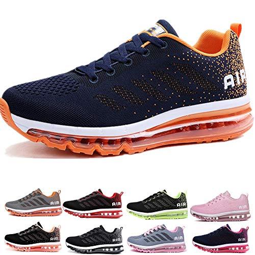 frysen Herren Damen Sportschuhe Laufschuhe mit Luftpolster Turnschuhe Profilsohle Sneakers Leichte Schuhe Blue Orange 41