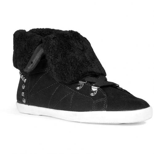 Black Fur Lined Sneakers with Studs