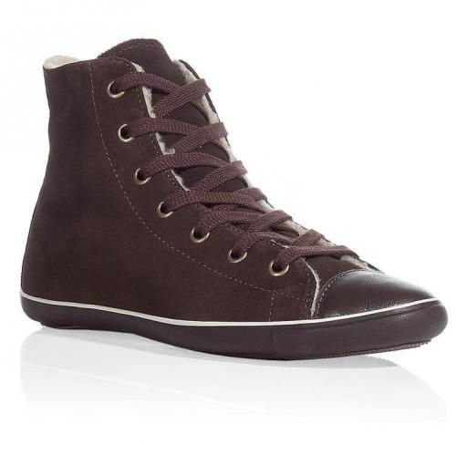 Dark brown light suede and shearling high top