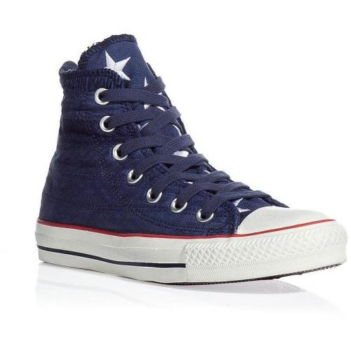 Navy quilted canvas high top sneakers
