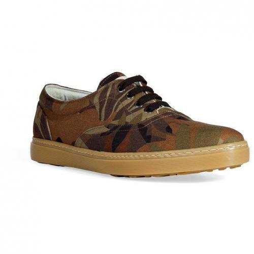 Khaki Leaf Print Sneakers