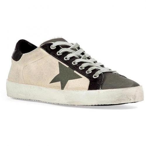 Military and Cream Superstar Sneakers