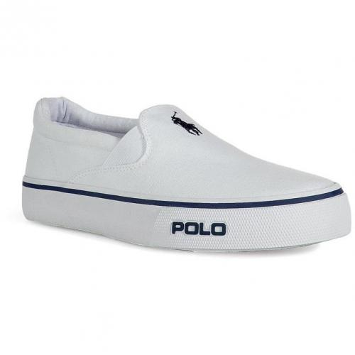 White Canvas Cantor Slip On Sneakers