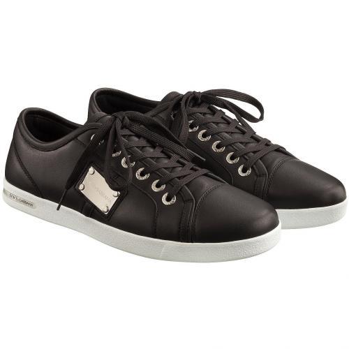 dolce gabbana herren sneaker vitello nappato schwarz grau. Black Bedroom Furniture Sets. Home Design Ideas
